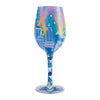 """New York Nights"" Hand-Painted Artisan Wine Glass, 15 oz."