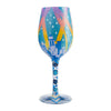 New York Nights Hand-Painted Artisan Wine Glass, 15 oz.