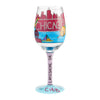 Chicago the Windy City Hand-Painted Artisan Wine Glass, 15 oz.