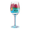"""Chicago the Windy City"" Hand-Painted Artisan Wine Glass, 15 oz."