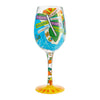 """Florida Fun"" Hand-Painted Artisan Wine Glass, 15 oz."
