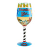 """Carolina Girl"" Hand-Painted Artisan Wine Glass, 15 oz."