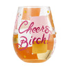 """Cheers, Bitch"" Hand-Painted Artisan Stemless Wine Glass, 20 oz."