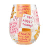 """Adulting Sucks"" Hand-Painted Artisan Stemless Wine Glass, 20 oz."