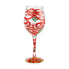 """Meet Me Under the Mistletoe"" Hand-Painted Artisan Wine Glass, 15 oz."