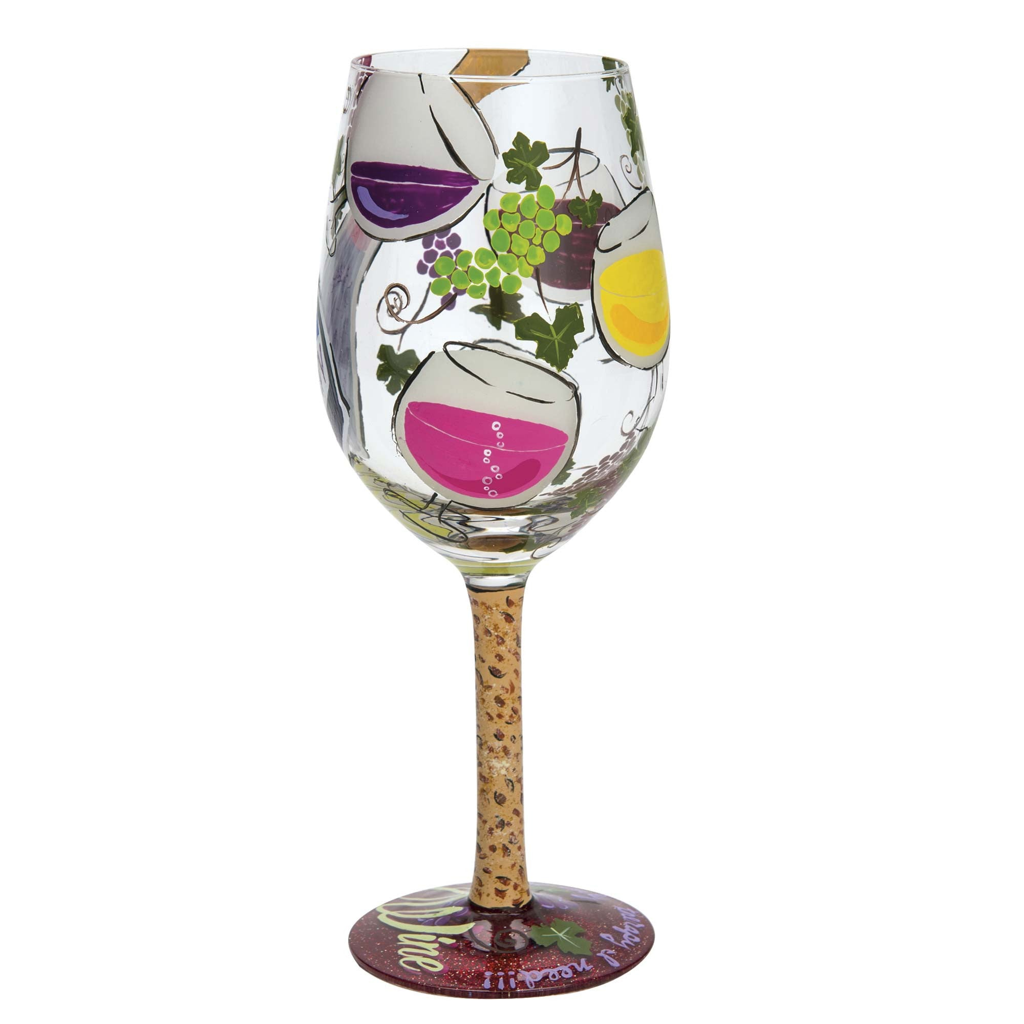 "173a2a0d8df5 ""My Therapy"" Hand-painted Artisan Wine Glass"