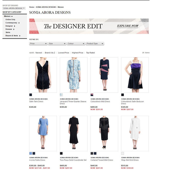 Sonia Arora Designs now available at Hudson's Bay