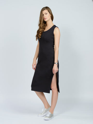 Fleece sleeveless dress black