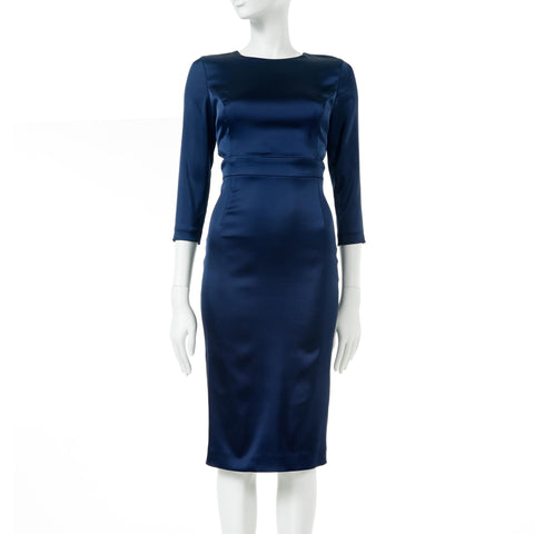 Satin Midi Dress - Navy