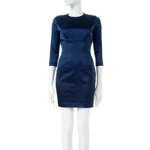 BELTED PERIWINKLE BLUE FAILLE TURTLENECK DRESS