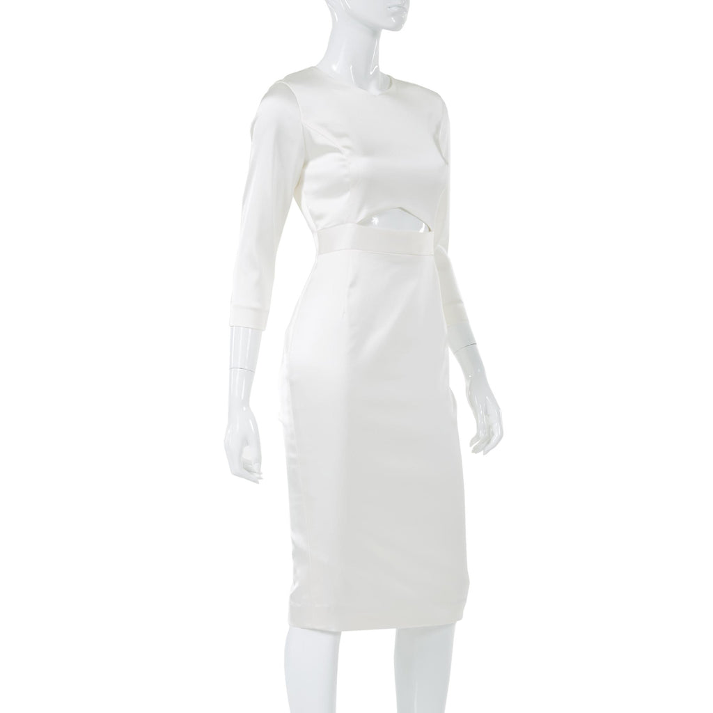 IVORY MIDI BODYCON WITH FRONT CUTOUTS