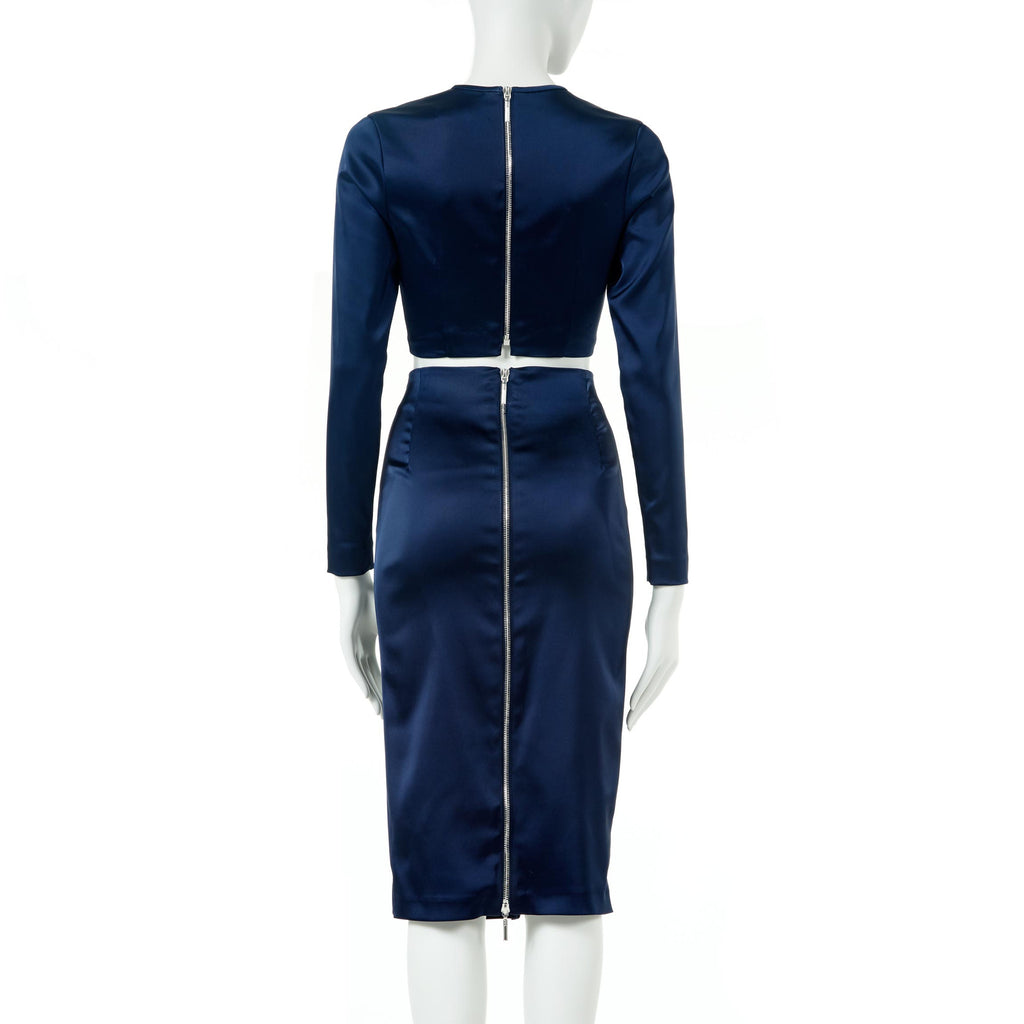 TWO-PIECE COORDINATE NAVY BLUE STRETCH SATIN