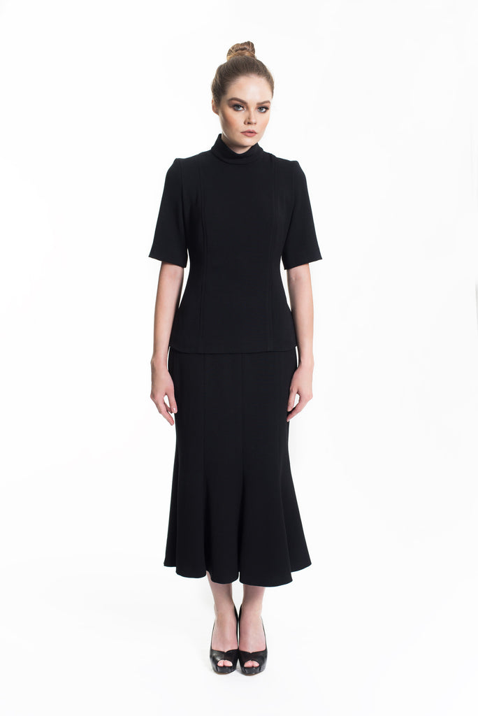 Black Two-Piece Coordinate with Trumpet Skirt