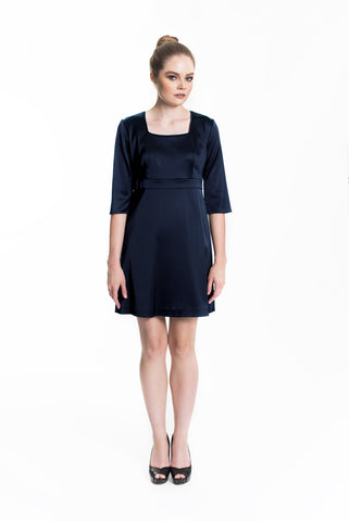 Satin A-Line Dress - Navy