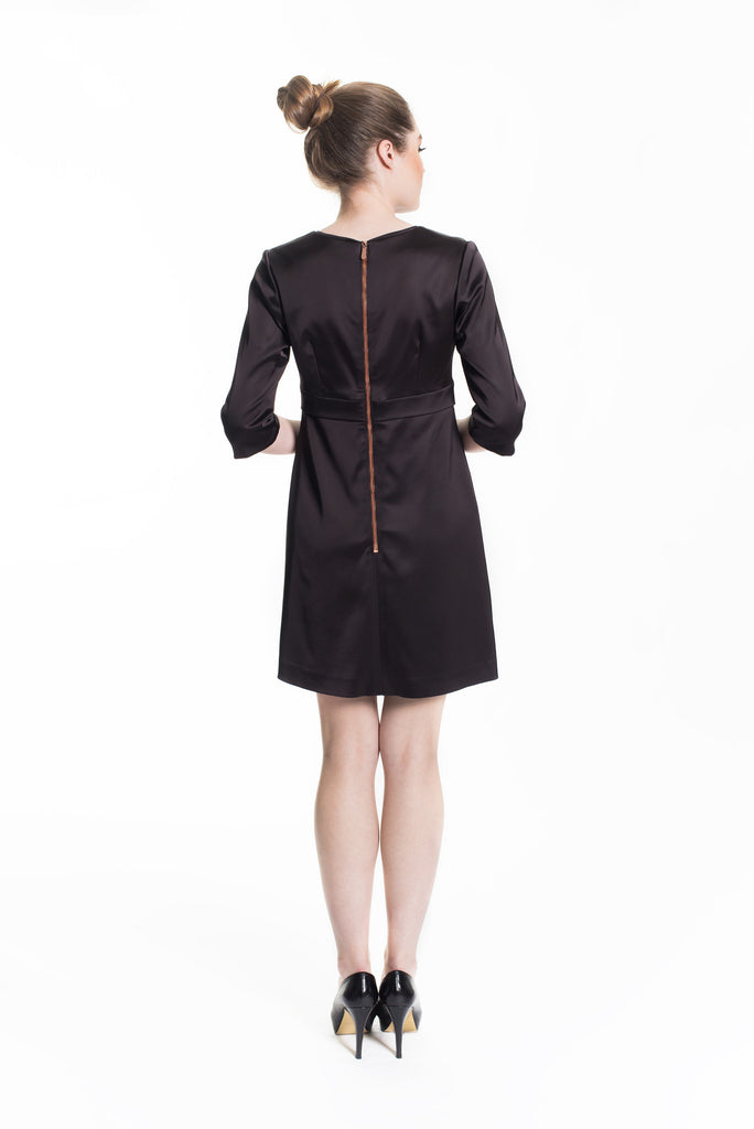 Satin Empire Dress - Espresso