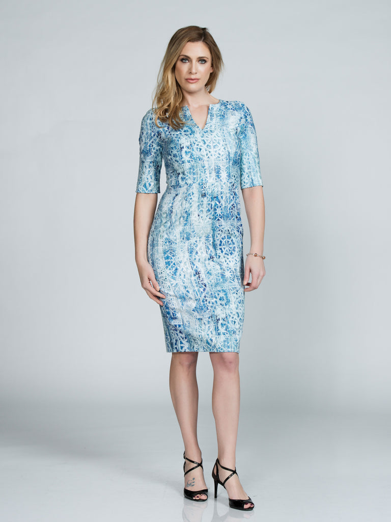 Nautical Jacquard Midi Dress