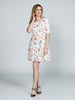WHITE GRAPHIC FLORAL JACQUARD A-LINE DRESS