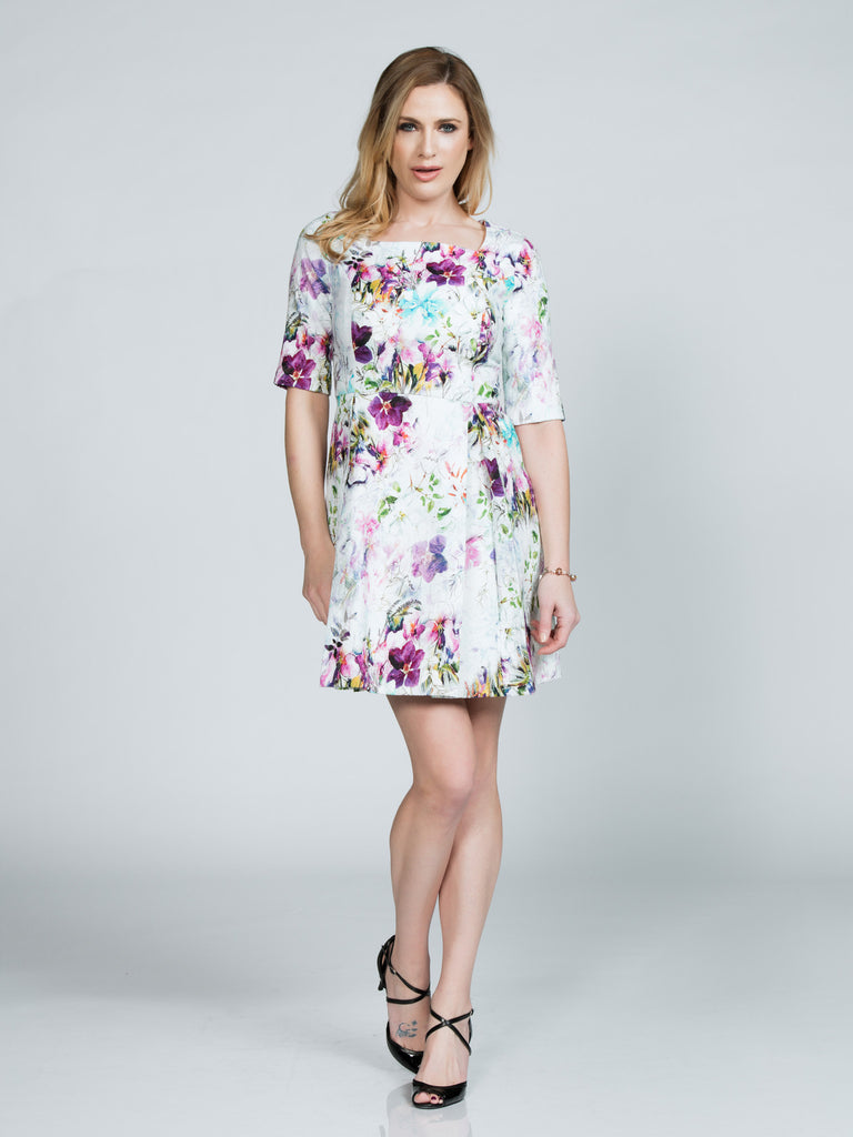 WHITE JACQUARD FLORAL A-LINE DRESS