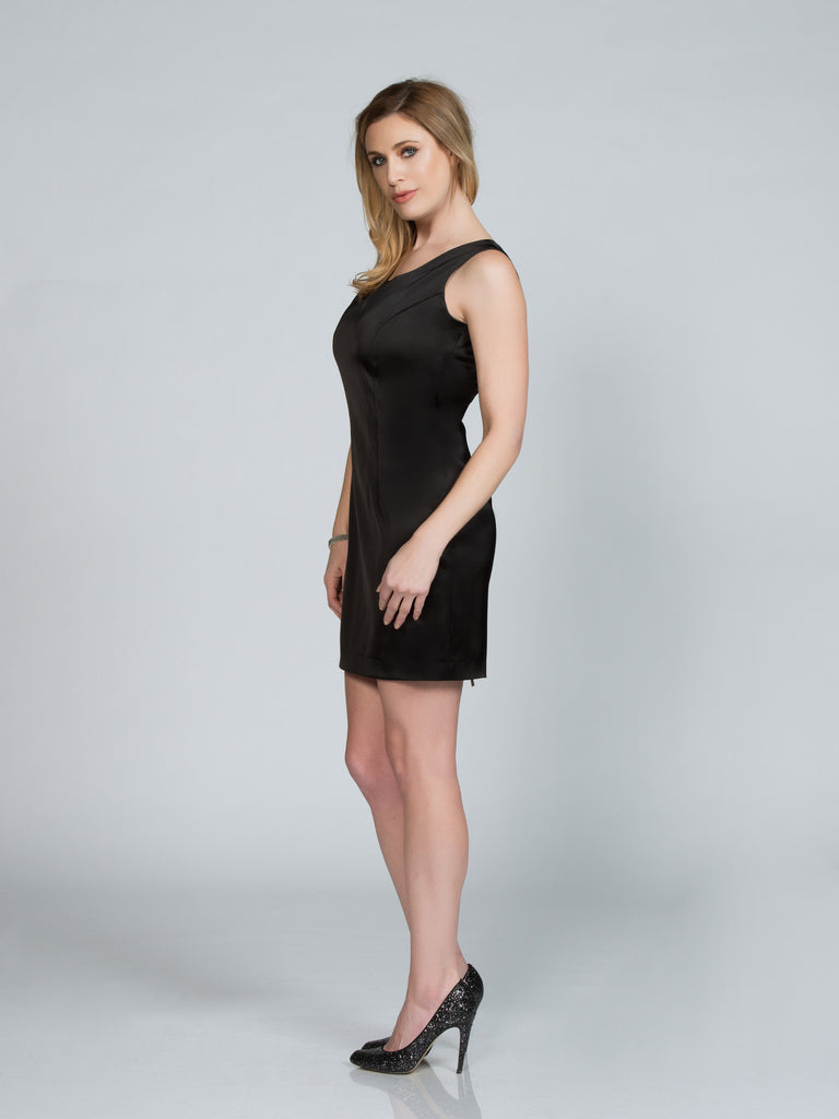 BLACK SATIN TANK DRESS