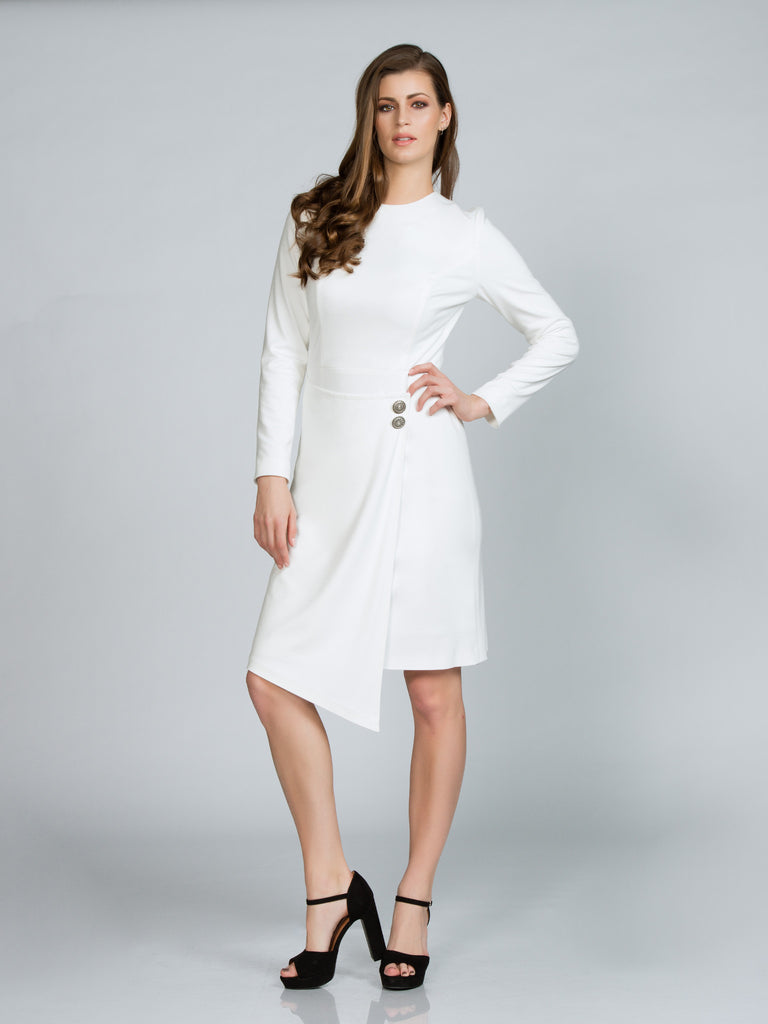 White Knit Dress with Wrap Skirt