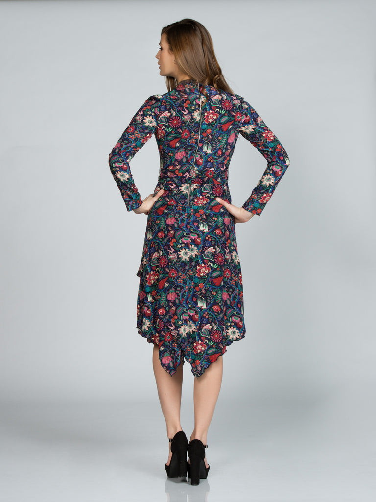 Silk Floral Liberty Print Wrap Dress