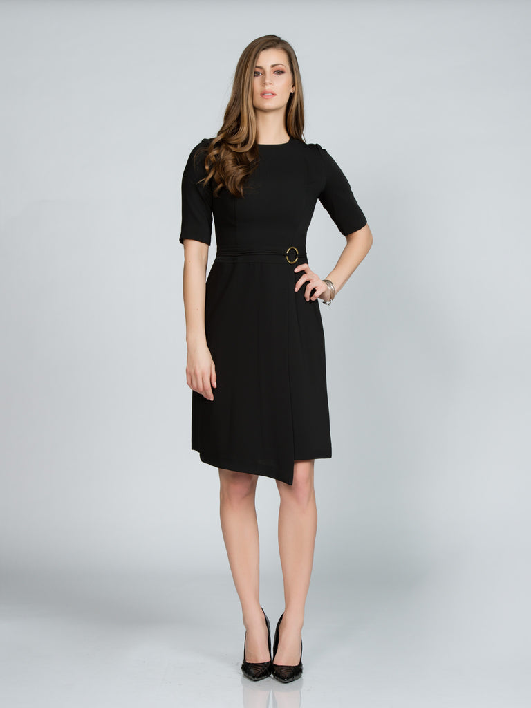ASYMMETRICAL BLACK FAILLE WRAP DRESS