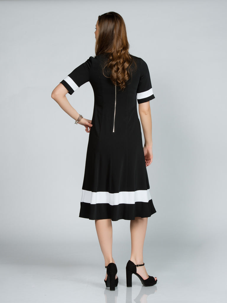 LONG FAILLE BLACK CONTRAST DRESS