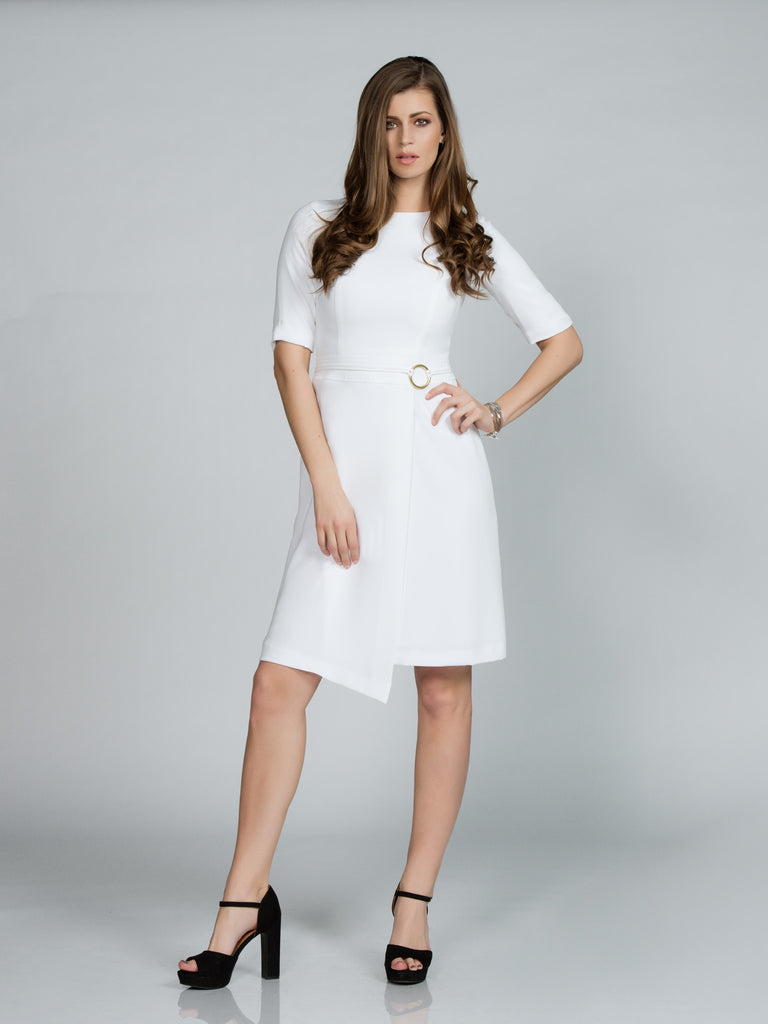 ASYMMETRICAL WHITE FAILLE WRAP DRESS
