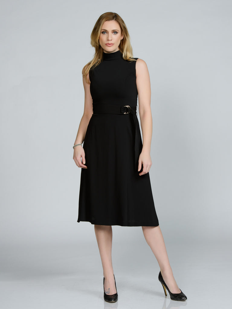 BELTED BLACK FAILLE TURTLENECK DRESS
