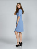ASYMMETRICAL PERIWINKLE BLUE FAILLE WRAP DRESS
