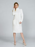 White Pocketed Turtleneck Dress