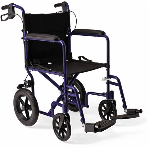 "Aluminum Transport Chair With 12"" Rear Wheels"