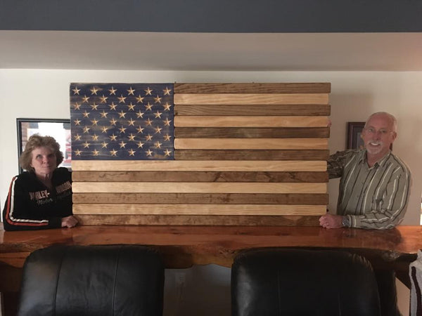 5ft Dark Walnut and Natural Stained Wood American Flag