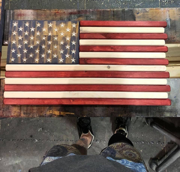 Small Red White and Blue Stained Wood American Flag