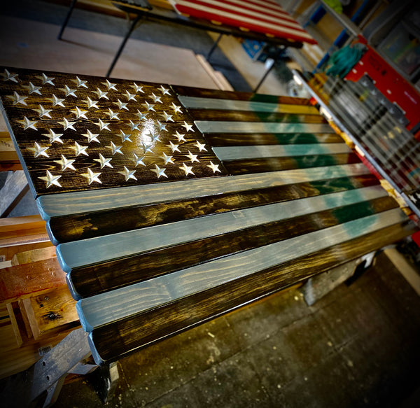 5ft Subdued Stained Wood American Flag
