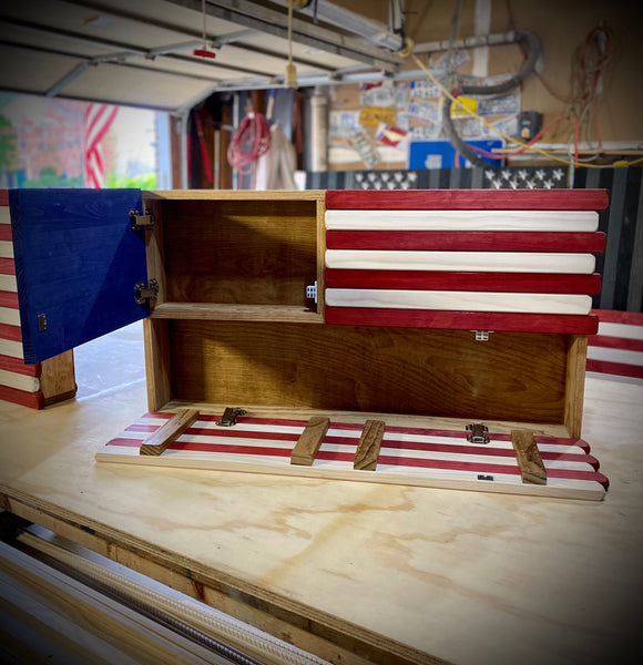 3ft Red White and Blue Stained Flag Case