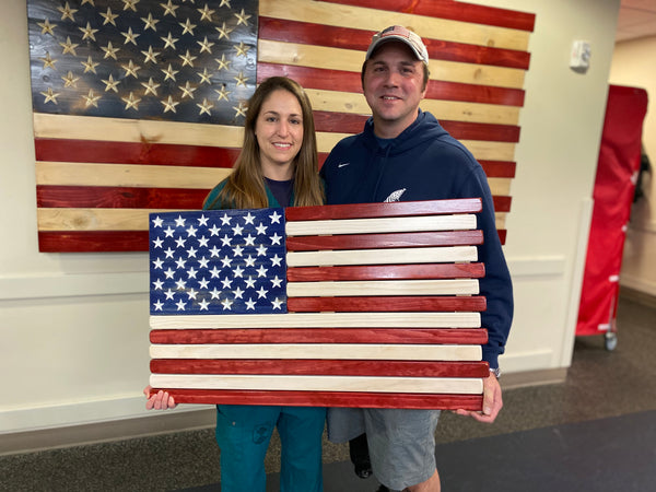 3ft Wood - Red White and Blue Stained American Flag