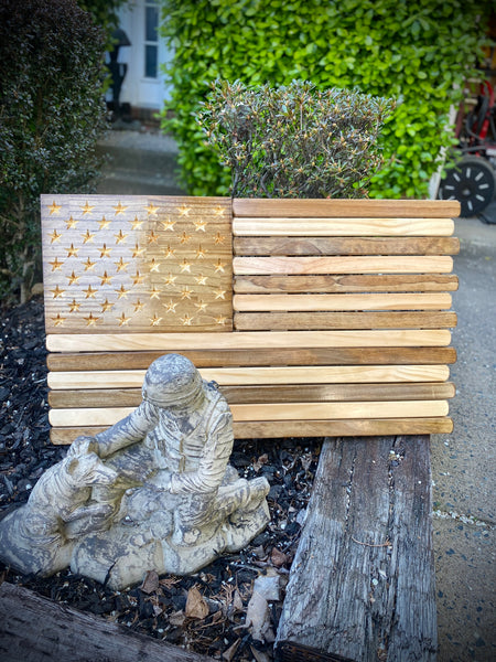 3ft Wood - Natural and Dark Walnut Stained American Flag