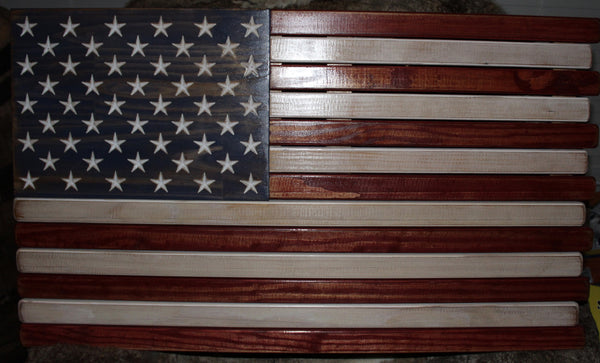 3ft Red White and Blue Stained Wood American Flag