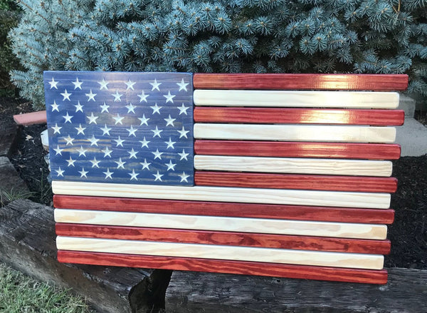 Red White and Blue Stained Wood American Flag