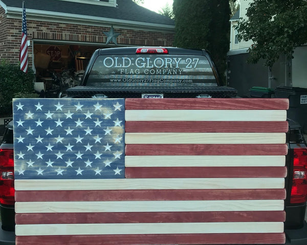 5ft Red, White and Blue Stained Wood American Flag