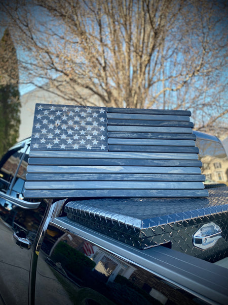 3ft Subdued Stained Wood American Flag