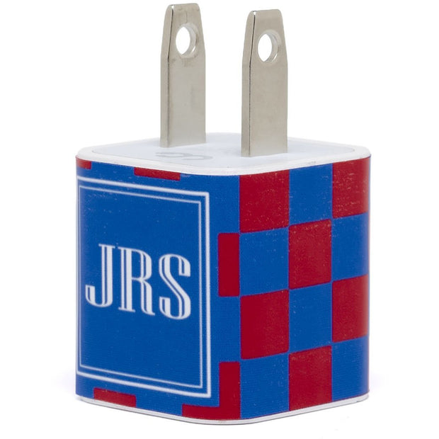 Monogram Red Royal Checkered Phone Charger - Classy Chargers