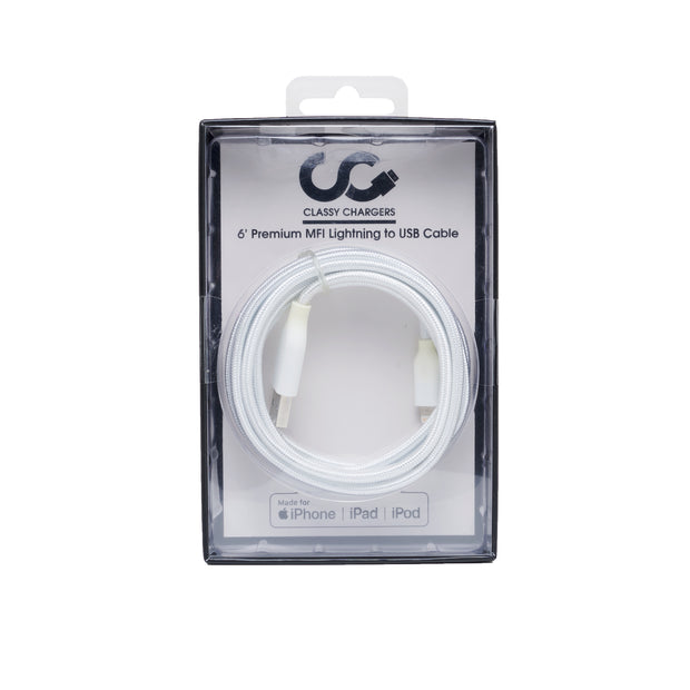 White MFI Lightning Cable - Classy Chargers