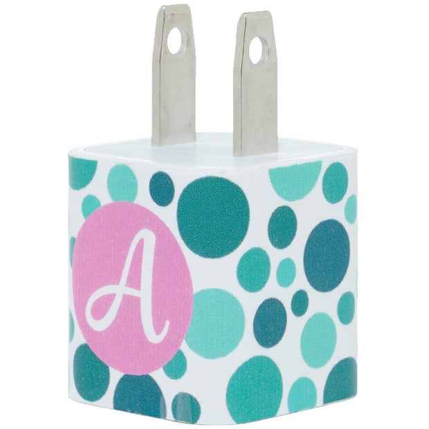 Teal Dot Single Letter Phone Charger - Classy Chargers