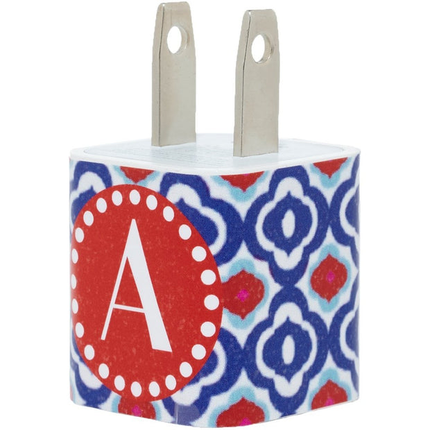 Red Blue Quatrefoil Single Letter Phone Charger with Cable