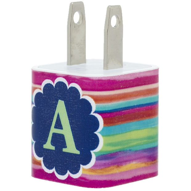 Colorful Spring Stripe Single Initial Phone Charger -Classy Chargers