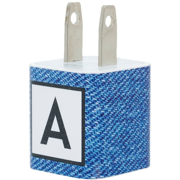 Denim Single Letter Phone Charger with Cable