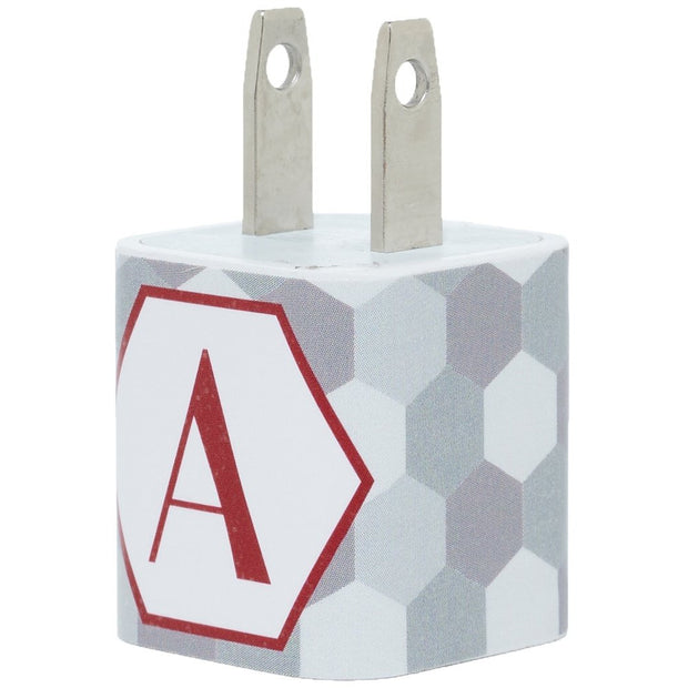 Silver Hexagon Single Letter Phone Charger with Cable