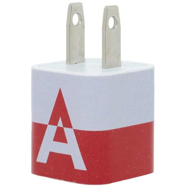 Maroon  White Split Single Letter Phone Charger - Classy Chargers